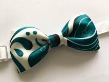 Doplnky - pánsky motýlik Smaragdový ornament - 10320076_