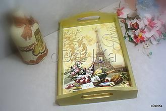 Nádoby - drevená tácka Raňajky pod Eiffelovkou - 10318530_