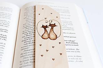 """Papiernictvo - Drevená záložka do knihy """"Ach, tá láska"""" - 10318440_"""