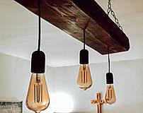 Svietidlá a sviečky - Rustikálny luster s 3 žiarovkami - 10317373_