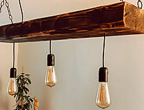 Svietidlá a sviečky - Rustikálny luster s 3 žiarovkami - 10317379_
