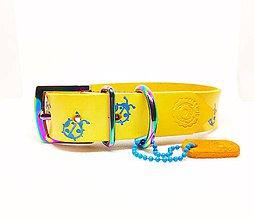 Pre zvieratká - Kožený obojok s modrými lienkami z hovadzej hladenice - 10317319_