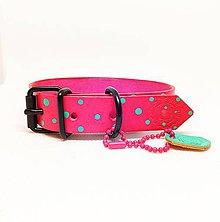 Pre zvieratká - Bodkovaný obojok v ružovej farbe - 10318434_