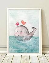 Detské doplnky - ilustrácia Veľrybka, A2 - originál - 10316723_