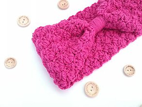 Čiapky - Háčkovaná čelenka MISTY (65% vlna & 35% alpaka) (pink ružová) - 10316785_