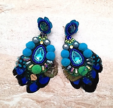 Náušnice - Modro-zelene pompom nausnicky - 10317652_