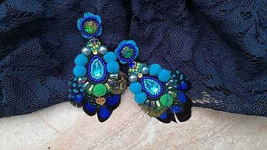 Náušnice - Modro-zelene pompom nausnicky - 10317653_