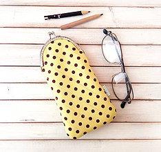 Taštičky - Púzdro na okuliare Žltá s hnedými bodkami - 10315706_