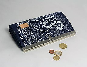 Peňaženky - Peňaženka modrotlač veľká 2 - 10319344_