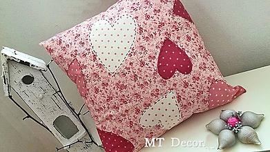 Úžitkový textil - na srdciach ustlané v ružovom /OBLIEČKA, vankúšik - 10317664_
