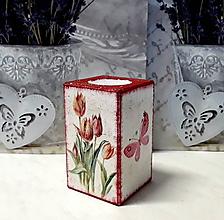 Svietidlá a sviečky - drevený svietnik tulipány - 10319340_