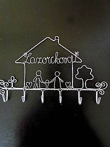 Nábytok - Vešiak - rodinka (cca 26 cm - Strieborná) - 10318326_