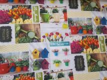 Textil - látka jarné tulipány - 10316265_