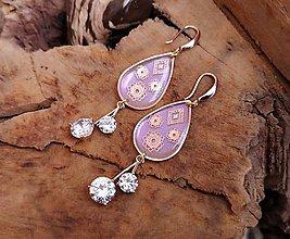 Náušnice - Visiace náušnice živicové s ornamentom, striebro Ag - 10317862_