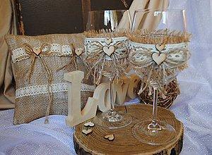 Drobnosti - Svadobné pohare a vankúšik pod obrúčky - vintage - 10321960_