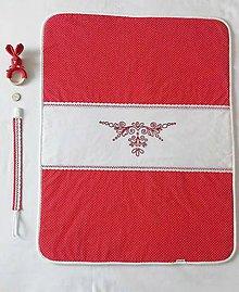 Textil - Detská deka s výšivkou - červená - 10324201_
