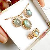 - Elegant Rose Gold Blue Green Labradorite Set / Jemný set šperkov s labradoritom v prevedení ružové zlato /1033 - 10323926_