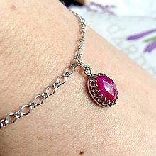 Náramky - Natural Ruby AG925 Rhodium Bracelet / Strieborný ródiovaný náramok s rubínom /A0029 - 10320564_