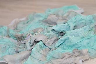Šatky - Bavlnená šatka s aplikovaným hodvábom. - 10321675_