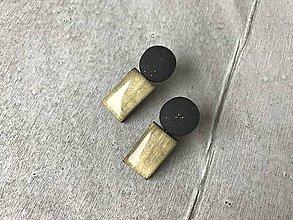 Náušnice - Čierno-zlaté puzetky - 10324365_