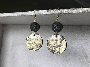 Náušnice - Náušnice čierno-zlaté kruhy - 10324384_