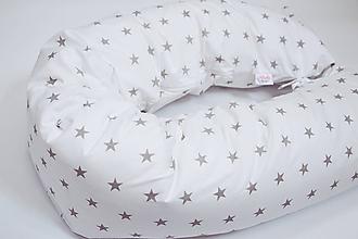 Textil - Tehotenský vankúš / Vankúš na dojčenie sivé hviezdy na bielom - 10320713_