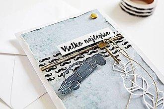 Papiernictvo - Pánsky pozdrav - auto s kľúčom - 10322233_