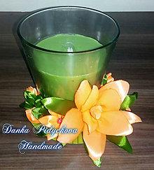 Dekorácie - Zdobená jablková sviečka - oranžová - 10323260_