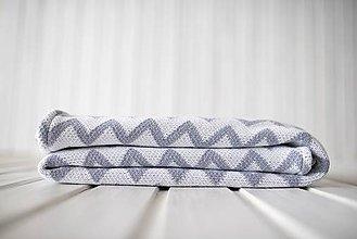 "Textil - Detská deka, ""Chevron"", OEKO-TEX® - SivoBiela/Sivá podšívka - 10320365_"