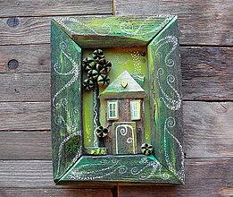 Obrazy - Romantický domček - 10323019_