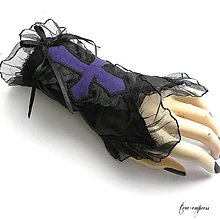 Náramky - Gotický náramok s fialovým krížom - 10320844_