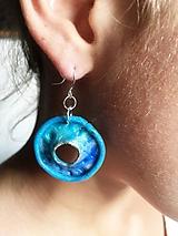 Náušnice - modré so strieborným - 10322418_