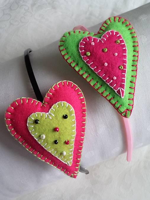Srdiečkové čelenky... ružovo-zelené duo