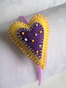 Ozdoby do vlasov - Srdiečková lila&žltá - 10323102_