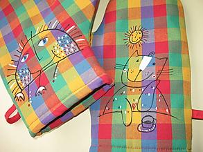 Úžitkový textil - chňapky se sluníčkem a kočkou - 10322951_