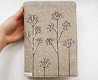 - Obal na knihu - Zasnežená tráva (natur 100% ľan) - 10320663_