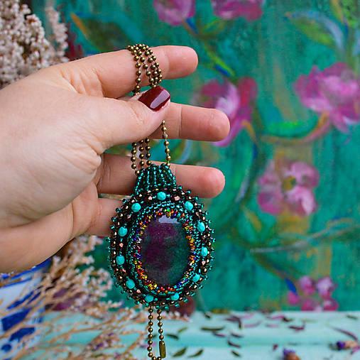Achátový n.12 - šitý náhrdelník
