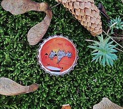 Odznaky/Brošne - líška s líščatami - brož - 10321375_
