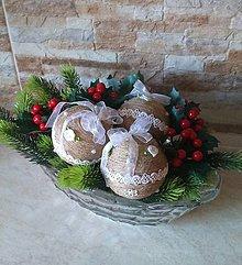 Dekorácie - Veľké prírodné vianočné  ozdoby - sada 3 ks - 10322022_