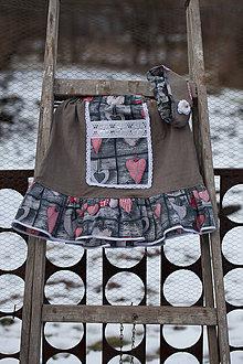 Detské oblečenie - Srdiečkavo ľanová sukňa s čelenkou - 10321728_