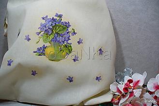 Nákupné tašky - ľanová nákupná taška Fialky - 10320627_