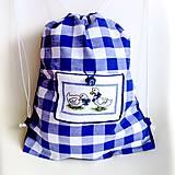 Batohy - Kanafasový batoh s vyšívanou kapsičkou. - 10323970_
