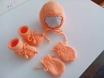 Detské súpravy - Štrikovaný set pre bábätká marhuľkový - 10320271_