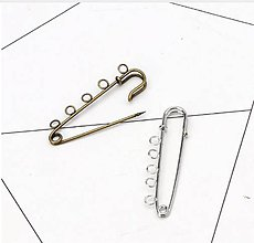 Komponenty - BZ101 Základ na brošňu s 5 očkami 5,5 x 1 cm - 10321744_