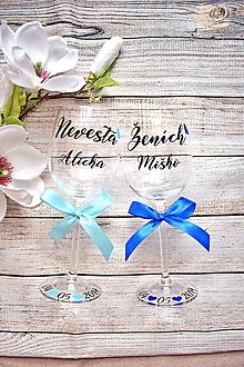 Nádoby - Svadobné poháre Nevesta Ženích - 10322513_