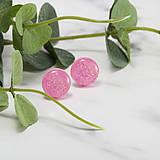 Náušnice - Napichovacie náušnice - ružové- trblietavé - 10324064_