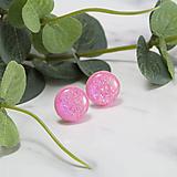 Náušnice - Napichovacie náušnice - ružové- trblietavé - 10324065_