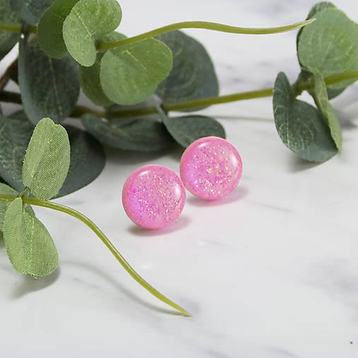 Napichovacie náušnice - ružové- trblietavé
