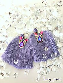 Náušnice - Náušnice fialkové s dlhými strapcami :) - 10322660_