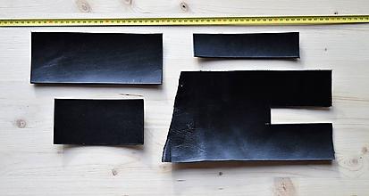 Suroviny - Zbytková koža čierna kúsky - 10321977_